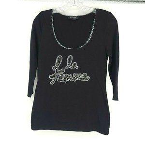 White House Black market Embellished La Femme Top